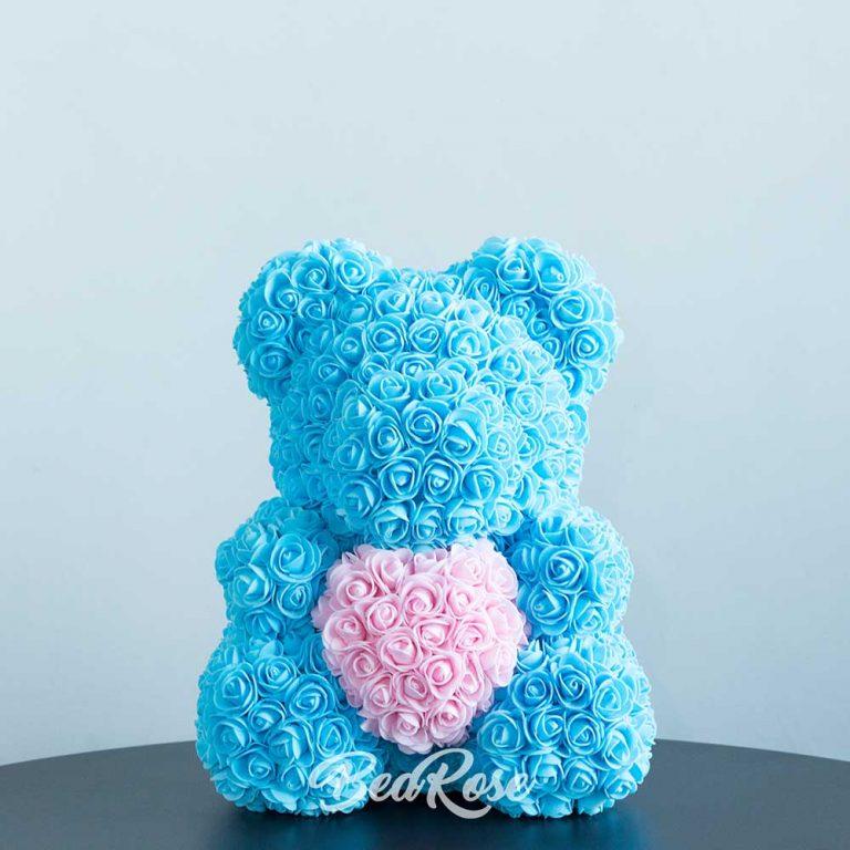 Light Blue with light-pink-heart