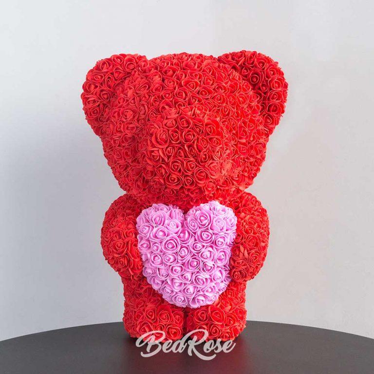 Scarlet with Deark Pink heart