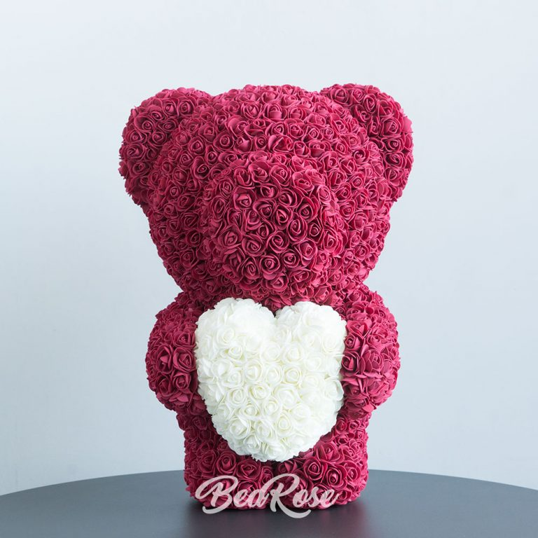 Wine red with White heart