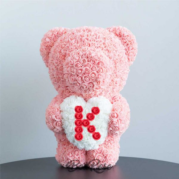 bearose-bear-rose-champagne-standing-bear-with-white-heart-red-letter-K-singapore-1