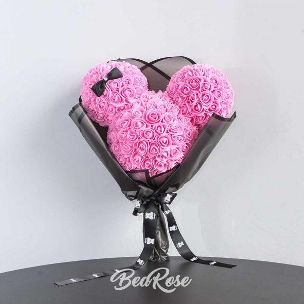 bearose-mickey-mouse-rose-singapore-pink-with-ribbon-1