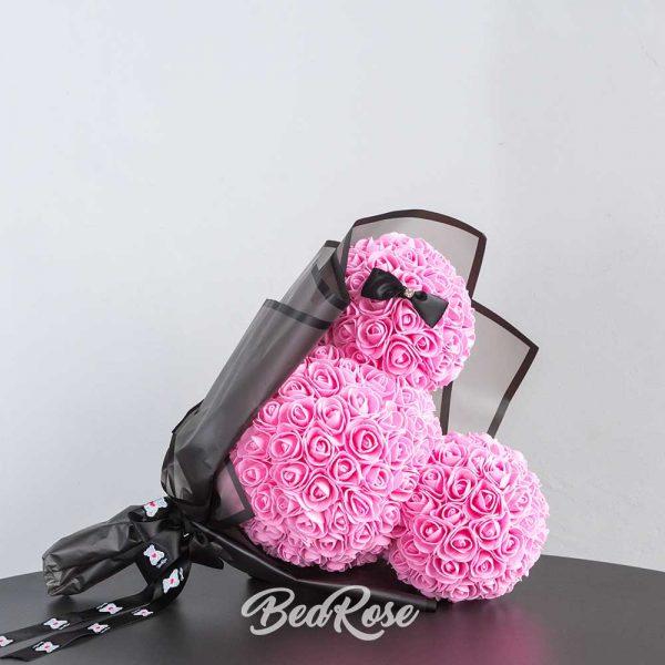bearose-mickey-mouse-rose-singapore-pink-with-ribbon-2